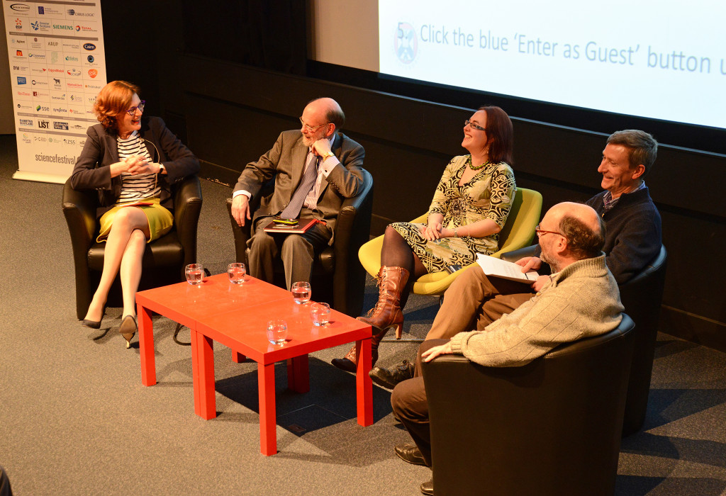 The Dolly and Me panel. From left to right: Vivienne Parry OBE, Professor Sir Ian Wilmut, Clare Button, Dr Andrew Kitchener and Professor Bruce Whitelaw
