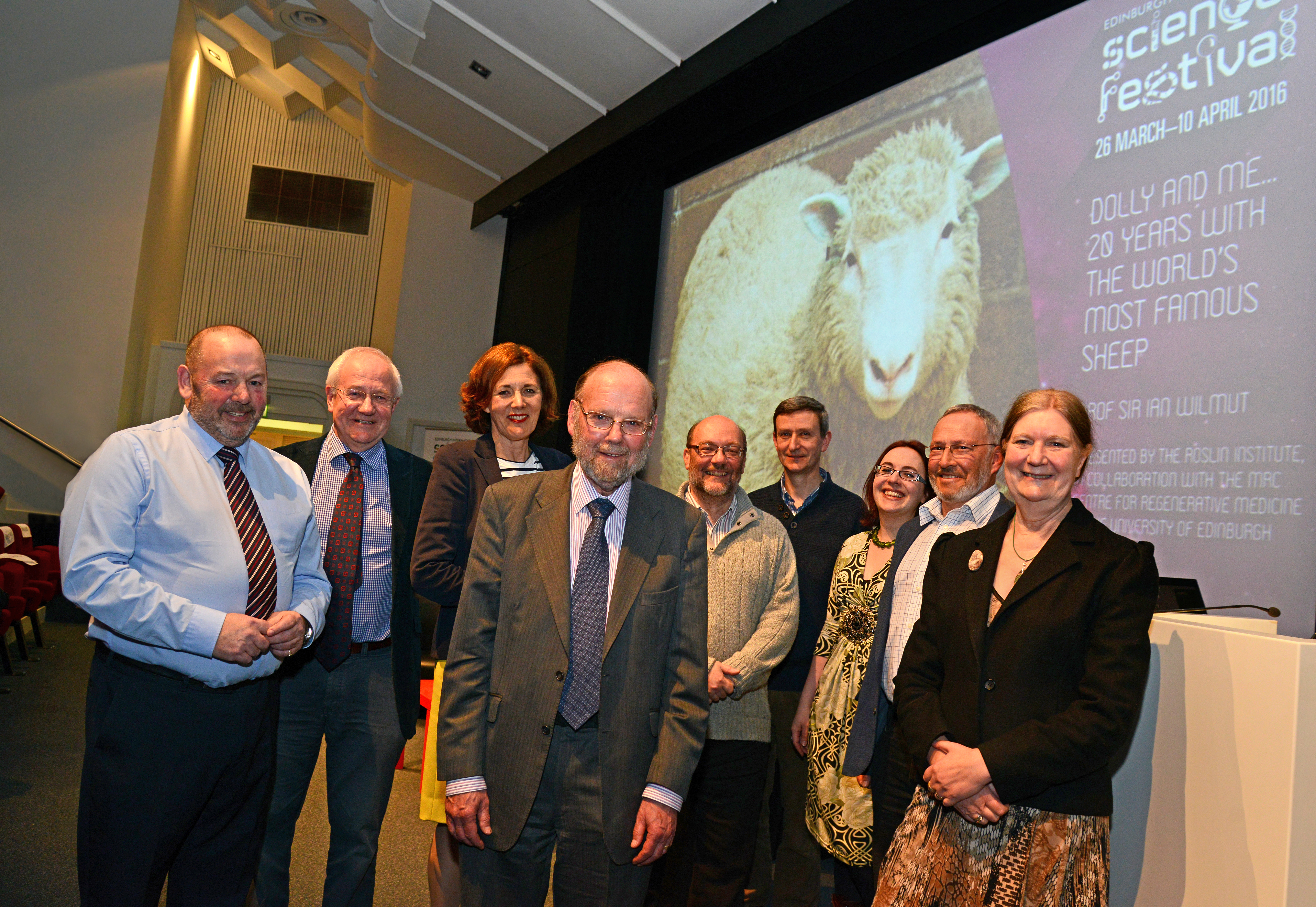 Our Dolly and Me panel and members of the Dolly team. From left to right: Dougie McGavin, John Bracken, Vivienne Parry OBE, Professor Sir Ian Wilmut, Professor Bruce Whitelaw, Dr Andrew Kitchener, Clare Button, Dr Bill Ritchie and Professor Mary Bownes.